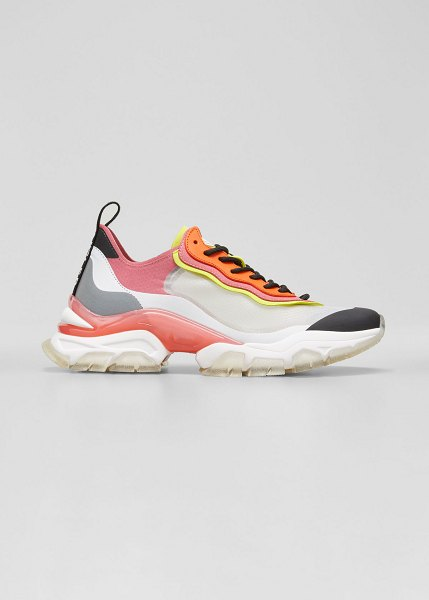 Moncler Leave No Trace Colorblock Running Sneakers in black/pink