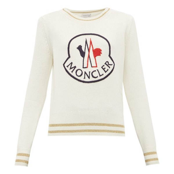 Moncler logo embroidered wool blend sweater in white multi