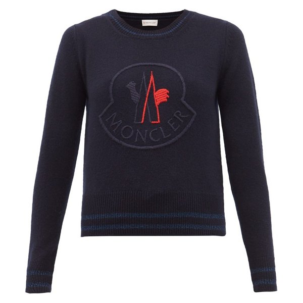 Moncler logo-embroidered wool-blend sweater in navy multi