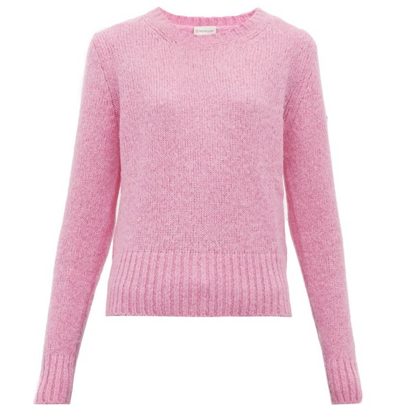 Moncler logo patch sweater in pink