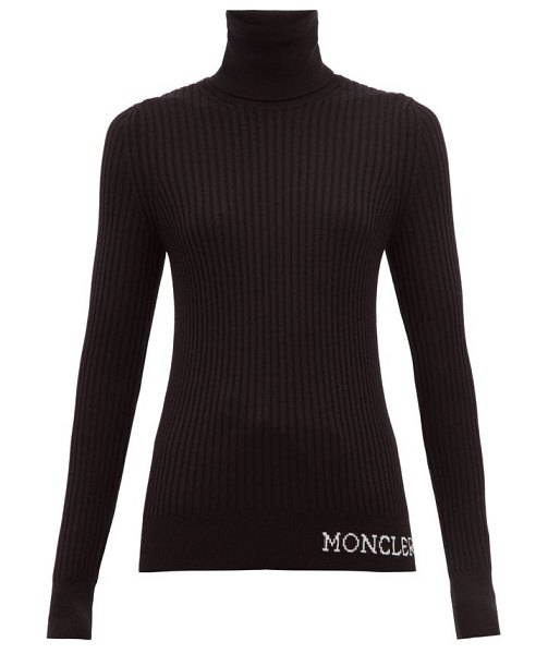 Moncler logo ribbed roll neck wool sweater in black