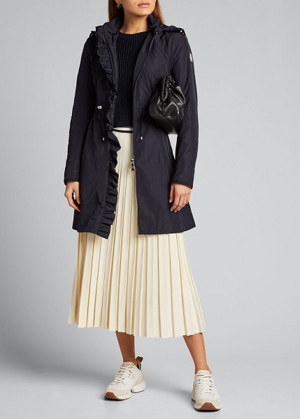 Moncler Outremer Ruffle-Trim Long Coat in navy