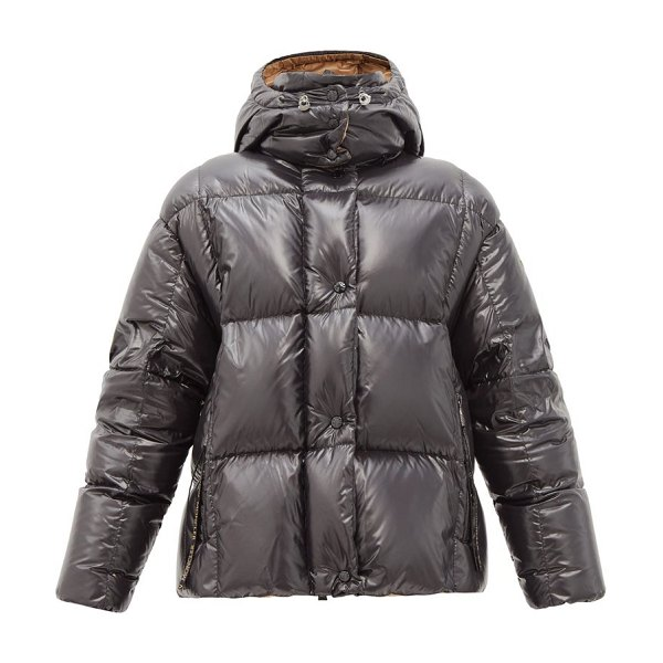Moncler parana hooded down-filled laqué jacket in black