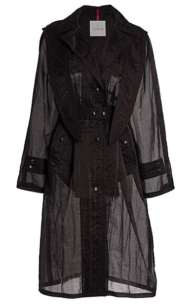 Moncler perle organza trench coat in black