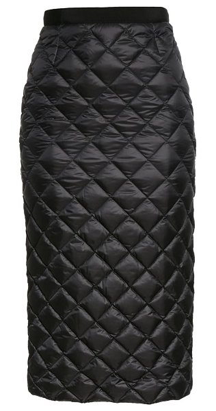 Moncler quilted down midi skirt in 999 black