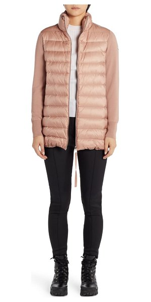 Moncler quilted down & wool long cardigan in dark pink
