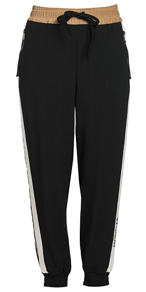 Moncler side stripe joggers in black