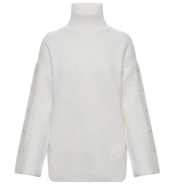Moncler snap sleeve wool turtleneck sweater in 030 white