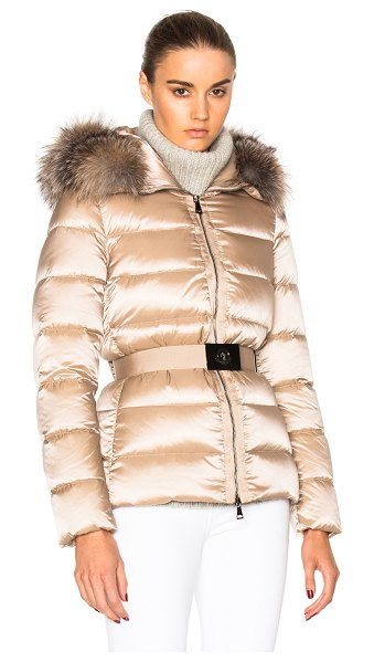 Moncler Tatie Giubbotto Jacket With Fox Fur in neutrals - Self: 60% poly 40% polyamide - Contrast Fabric: 100%...