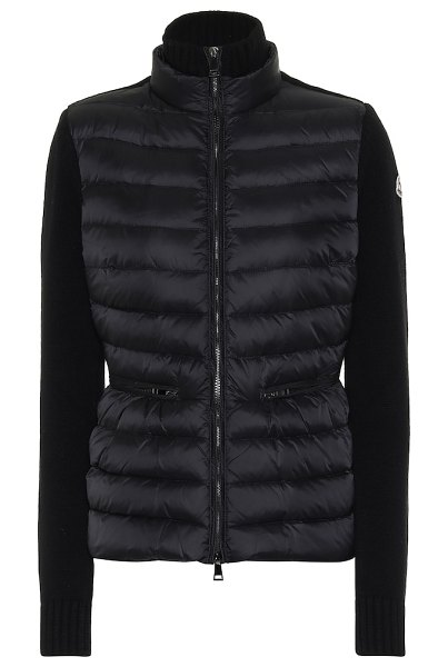 Moncler wool and cashmere down jacket in black