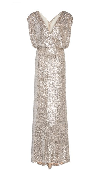 Monique Lhuillier Bridesmaids draped sequined silk-charmeuse gown size: 12 in silver