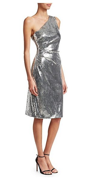 Monique Lhuillier Bridesmaids metallic one-shoulder sheath cocktail dress in silver - EXCLUSIVELY AT SAKS FIFTH AVENUE. Metallic sequins lend...