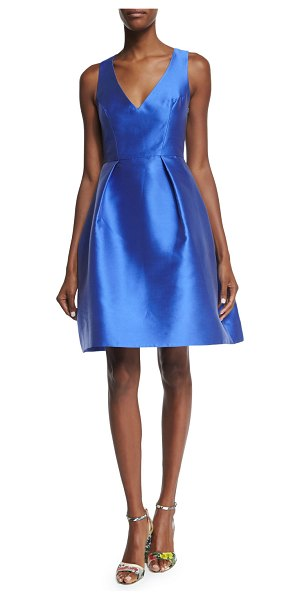 Monique Lhuillier Bridesmaids Sleeveless Fit-&-Flare Dress in cobalt