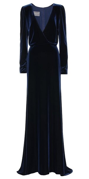 Monique Lhuillier Bridesmaids velvet gown in blue