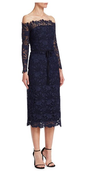 Monique Lhuillier Bridesmaids off-the-shoulder cocktail dress in midnight - Elegant shoulder-baring cocktail dress with self-tie...