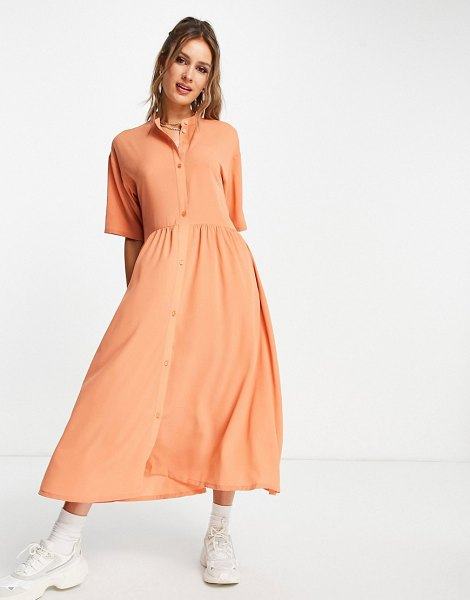 Monki asta recycled button front midi dress in orange-red in red