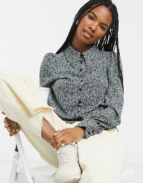 Monki floral print puff sleeve elongated collar blouse in multi in multi