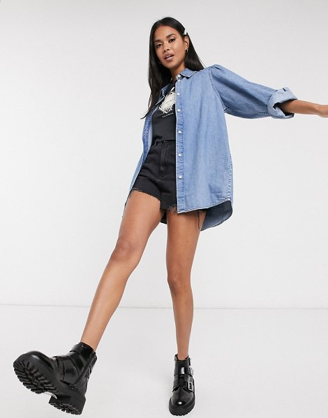 Monki jennifer organic cotton puff sleeve denim shirt in blue in blue