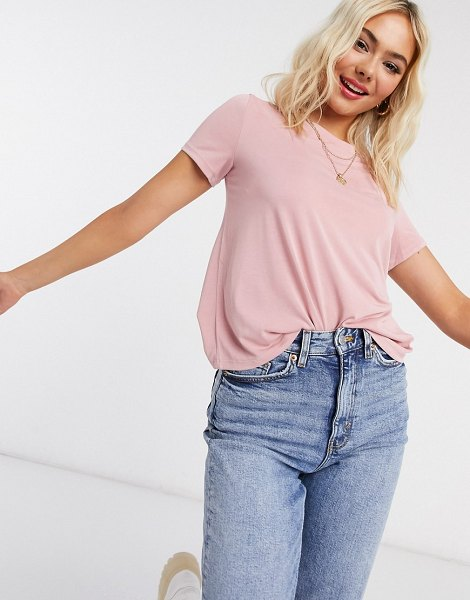 Monki jolin recycled polyester t-shirt in rose-pink in pink