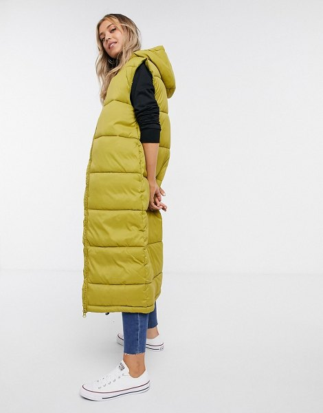 Monki lizz recycled sleeveless long padded jacket in olive-green in green