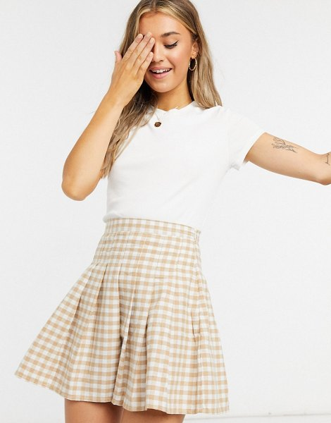 Monki magdalena organic cotton ribbed t-shirt in white in white