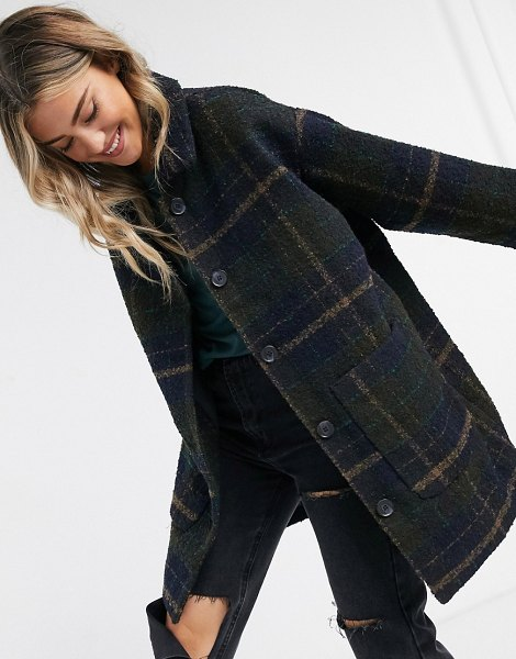 Monki nimra oversize wool check jacket in black in black