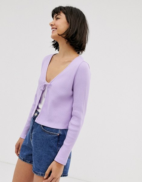 Monki ribbed jersey cardigan in purple in purple