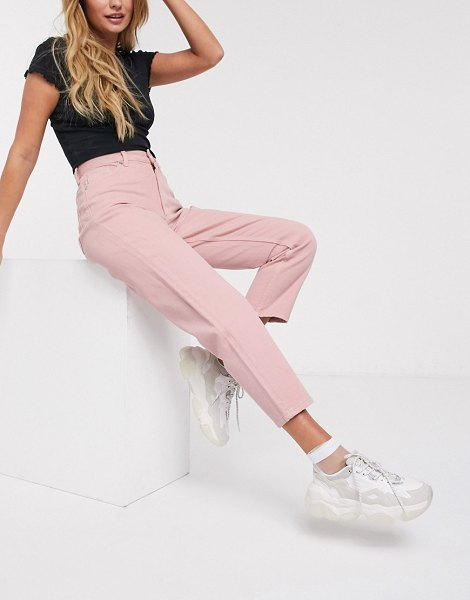 Monki taiki high waist mom jeans with organic cotton in pink in pink