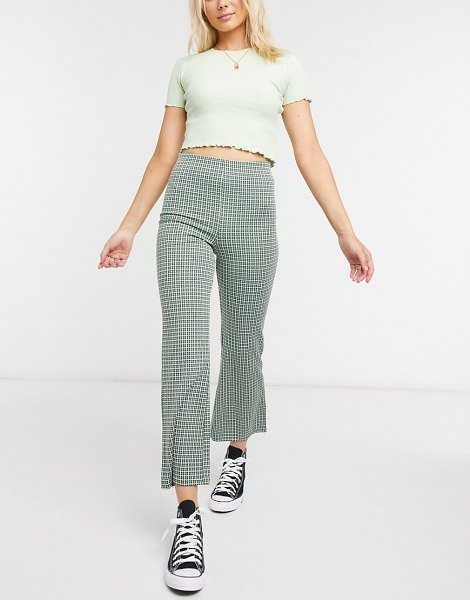 Monki viva flare pants in green in green