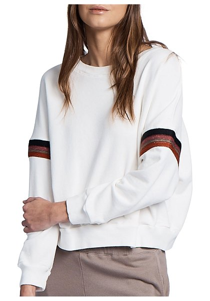 MONROW Boxy Sweatshirt with Embroidered Stripes in natural