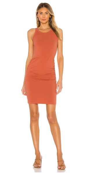 MONROW narrow tank shirred dress in spice