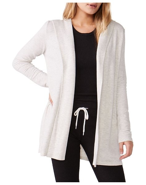 MONROW Super-Soft Hooded Cardigan in ash