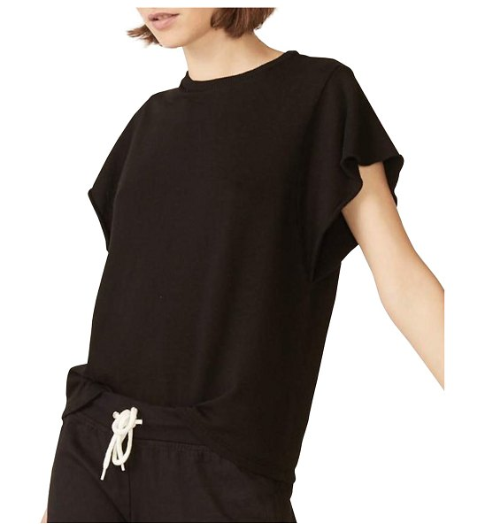 MONROW Supersoft Top w/ Ruffle Sleeves in vintage black