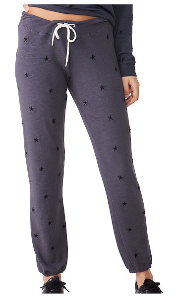 MONROW Vintage Embroidered Star Sweatpants in black