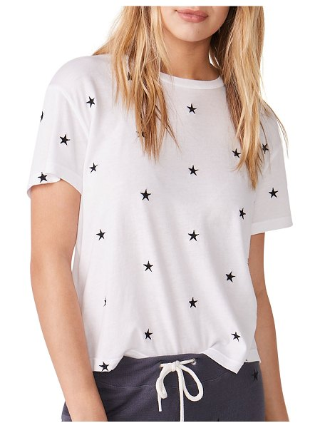 MONROW Vintage Embroidered Star Tee in white