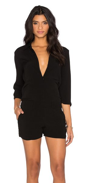 MONROW zip up romper in black