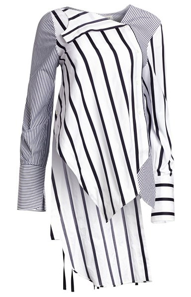Monse falling contrast stripe cotton shirt in white navy - In a mix-and-match construction, this crisp cotton top...