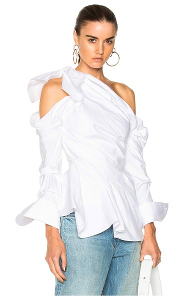 MONSE One Shoulder Blouse - 97% cotton 3% polyurethane.  Made in USA.  Dry clean only. ...