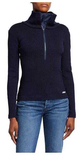 Monse Stretch Cotton Half-Zip High Neck Top in blue