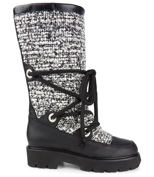 MONTELLIANA mary tweed & leather mid-calf boots in black