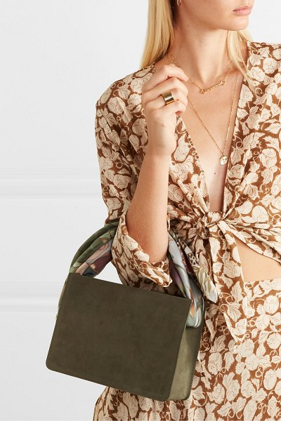 Montunas guaria printed satin-trimmed nubuck and linen tote in army green