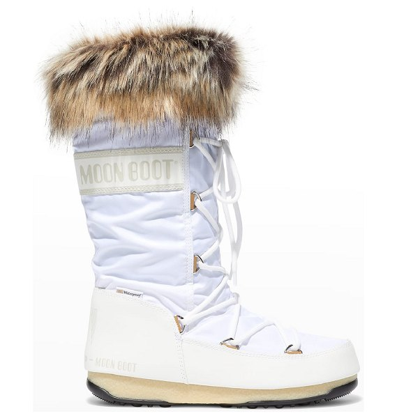 MOON BOOT Monaco Faux Fur Tall Snow Boots in white