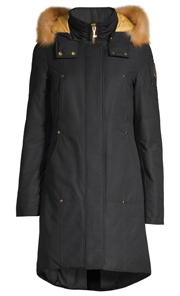 Moose Knuckles gold series grand fox fur-trim down parka in navy with gold