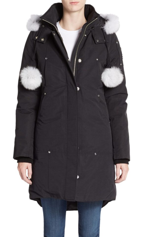 Moose Knuckles stirling fur-trim parka in black