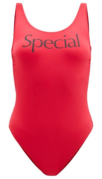 More Joy by Christopher Kane more joy special-print scoop-neck swimsuit in red