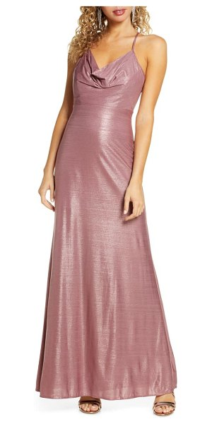 Morgan & Co. cowl neck shimmer gown in mauve