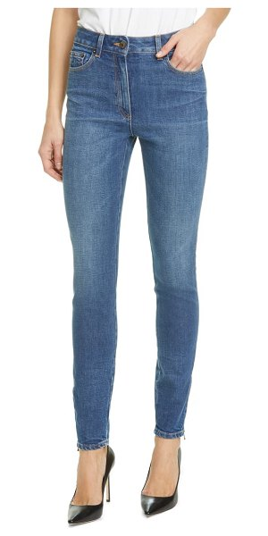 Moschino beaded bear skinny jeans in 0295 blue