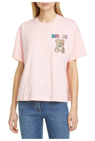 Moschino beaded bear t-shirt in 1242 pink