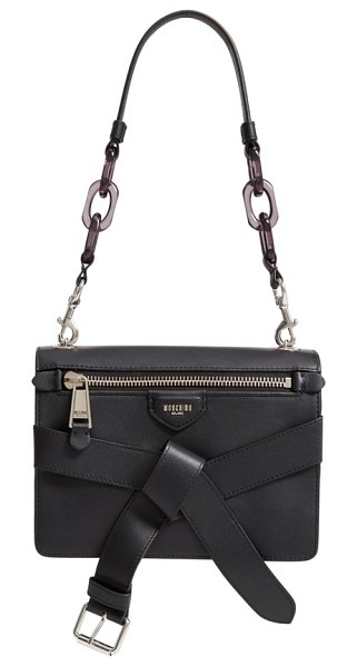 Moschino belt leather shoulder bag in black - A roller-buckle belt knotted at the front brings a touch...