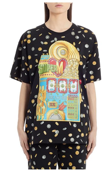Moschino coin print oversized graphic tee in black